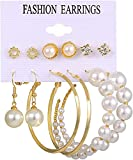 XIAOMIAO Earings Pearl Hoop Earrings Hoops Earrings Earrings Set Fashionable Glitter Pierced Earrings Are for Christmas, Birthday, Anniversary, Mother's Day, Valentine's Day (A-03)