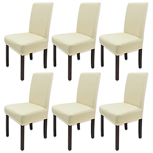 Leeyunbee 6 Pezzi Coprisedie con Schienale, Lavabile Estraibile Moderno Coprisedia Elastica, Facile da Pulire e Resistente, Fodere per sedie per Cucina Sala da Pranzo Cerimonia Wedding(Champagne)