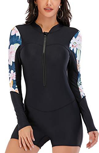 LafyKoly Women's One Piece Surfing Swimsuit Long Sleeve Rash Guard Boyleg Athletic Swimwear Bathing Suit (Medium, Black&Floral)