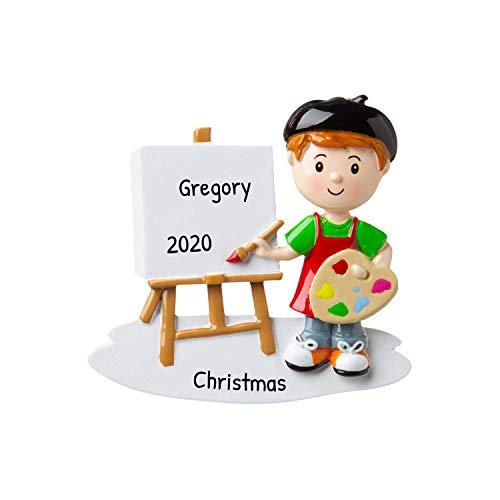 Personalized Boy Artist Christmas Tree Ornament 2020 - Painter Draw Art Palette Creative Little Kid Handicraft Easy Fun Elementary School Craft Project Grand-Son Gift Year - Free Customization
