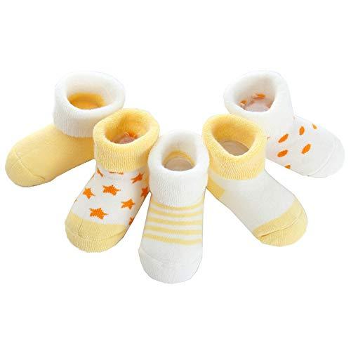 Z-Chen Pack de 5 Pares de Calcetines Bebé Niño Niña Algodón, Amarillo, 0-6 Meses