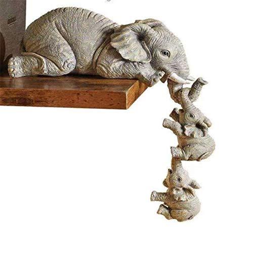 Adornos de Resina de Elefante Artesanías de Elefante de Tres Piezas Decoraciones de Mesa para El Hogar Decoración de Salón Decoraciones de Artesanía de Dormitorio