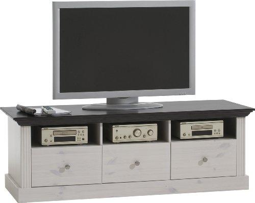 Steens Monaco TV Bank, 3 Schubladen und 3 Fächer, 145 x 49 x 55 cm (B/H/T), Kiefer massiv, weiß kolonial