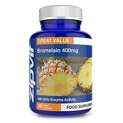 Bromelain 400mg, 90 Vegan Capsules. 6 Weeks Supply. 480 GDU Enzymes. Natural Pineapple Enzyme.