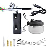 Podoy Mini Airbrush Compressor Kit with Airbrush Cleaning Kit Airbrush Spray Gun