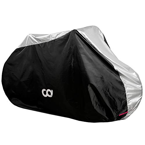 Bike Cover for Outdoor Bicycle Storage - 2 -3 Bike - Heavy Duty 600D Oxford Top with 190T Polyester Sides, Water Proof Weather Conditions for Mountain, Electric & Road Bikes, Dust Protection
