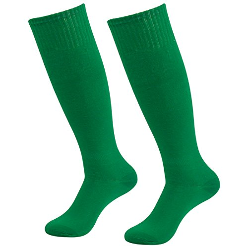 Fasoar Men's Women's Breathable Knee High Socks Solid Color Rugby Socks Pack of 2 Green  2 pack green  One Size