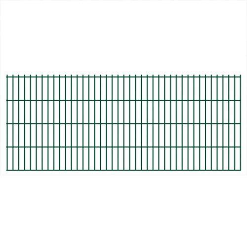 UnfadeMemory Doppelstabmattenzaun Gartenzaun Zaun Mattenzaun Gitterzaun für Abgrenzungen im Garten Terrasse oder Bauernhof, Maschengröße 200 x 50 mm (2008x830 mm, Grün)