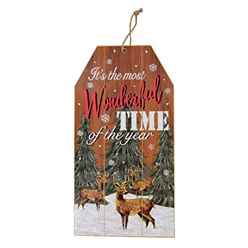 Merry Christmas Decorations Wooden Wall Signs 14'x7.5' Wood Plank Decorative Decor Hanging Plaque Celebrate A Holiday Hanger For Home Porch Indoor Outdoor It's The Most Wonderful Time Of The Year
