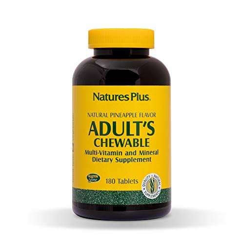 NaturesPlus Adult's Chewable Multivitamin - 180 Vegetarian Tablets - Pineapple Flavor - Natural Whole Foods Supplement for Overall Health, Energy -...