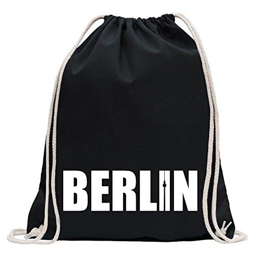 Kiwistar - Berlin Schriftzug Turnbeutel Fun Rucksack Sport Beutel Gymsack Baumwolle mit Ziehgurt