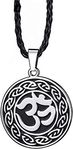 BACKZY MXJP Collar Collar Mujer Collar Hombres Niños Celta AUM Om Símbolo Hindú Colgante De Peltre Religioso con Collar