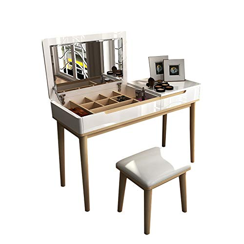 Lowest Prices! YonCog Personality Dressing Table Vanity Table with Flip Top Mirror Makeup Writing De...