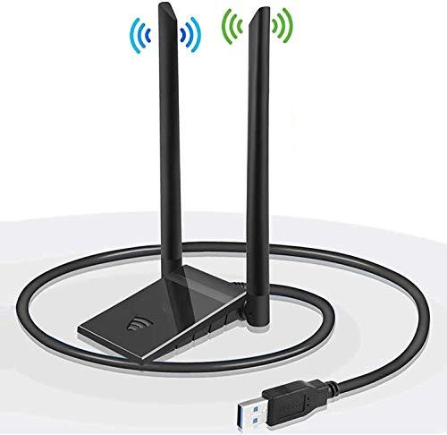 Clé WiFi Dongle Antenne USB Adaptateur pour PC sans Fil AC 1200Mbps 5GHz/867Mbps 2.4GHz/300Mbps Double Bande 5dBi Réseau Windows XP/Vista/7/8/10 Mac OS avec Câble d'extension