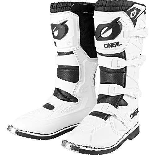 O'NEAL   Stivali Motocross   Enduro Moto   Comfort grazie al manicotto Air-Mesh, fibbie regolabili, materiale sintetico di alta qualità   Stivali Rider Pro   Adulto   Bianco   Taglia 41