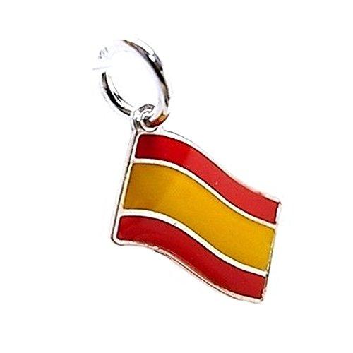 Colgante Plata Ley 925M Esmaltado 13mm. Bandera España Rojo Amarillo