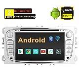 Radio Dab Estéreo Coche Autoradio para Ford Focus Mondeo C-MAX S-MAX Kuga Galaxy, Pantalla táctil HD de 7 Pulgadas, Sistema de Android 8.0, Bluetooth,Reproductor de DVD,Enlace Espejo,WiFi,4G, USB,SD