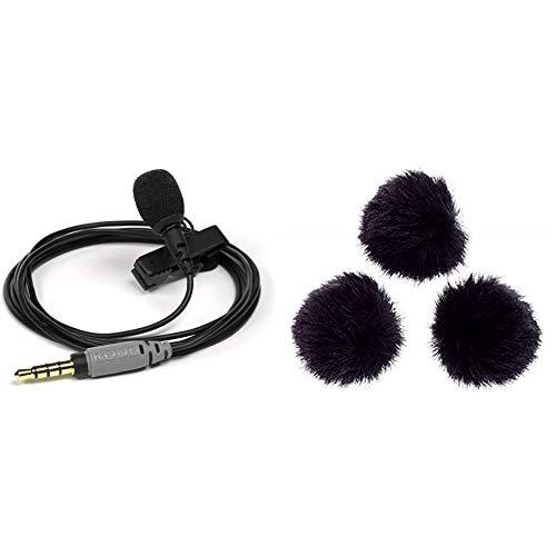 Rode Microphones Smartlav PlusMicrófono portátil, Color Negro + MINIFUR-LAVProtector para Cortavientos de micrófono (3 Unidades), Color Negro