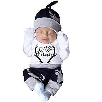Infant Baby Girl Boys Outfits Sets Letter Print Long Sleeve Romper Bodysuit Striped Deer Pants Hat Clothes 3M-18M