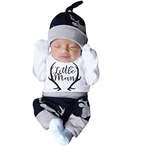Minshao(TM) Abbigliamento Bambino 0-3mesi Body Pagliaccetto per Neonato con Stampa Lettere da Bambino + Set di Pantaloni da Cervo + Cappello Abbigliamento Bambina Invernale