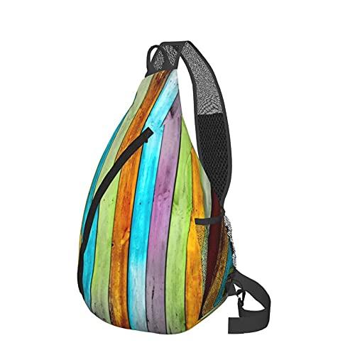 Mochila bandolera de madera colorida para el pecho de la bandeja, ligera, mochila de viaje, bolsa de mensajero para senderismo, camping