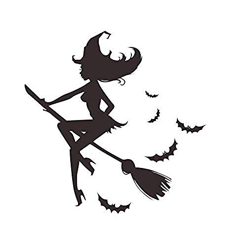 Halloween Wandaufkleber Fledermaus Wandbild Hexenbesen Muster Schlafzimmer Wandbild Dekor 100x50cm
