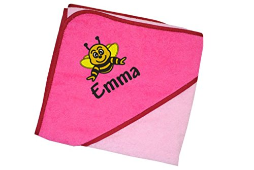 Wolimbo Kapuzenbadetuch 140x140cm mit Namen und Motiv - Farbe: rosa-pink - Das individuelle und kuschelig weiche Badehandtuch für Mädchen und Jungs - Wählen Sie Ihr Wunsch-Motiv