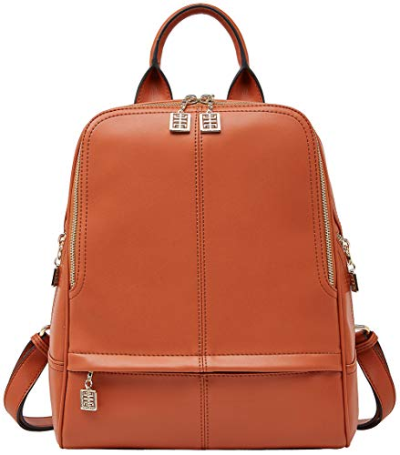 BOYATU Business Backpack Leather Backpack Purses for Women College School Bag Orange Size: OneSize