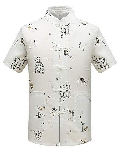 Hombres Chino Tradicional Uniformes de Tai Chi Lino Traje Tang Kung Fu Camisa + Pantalones Blanco 41