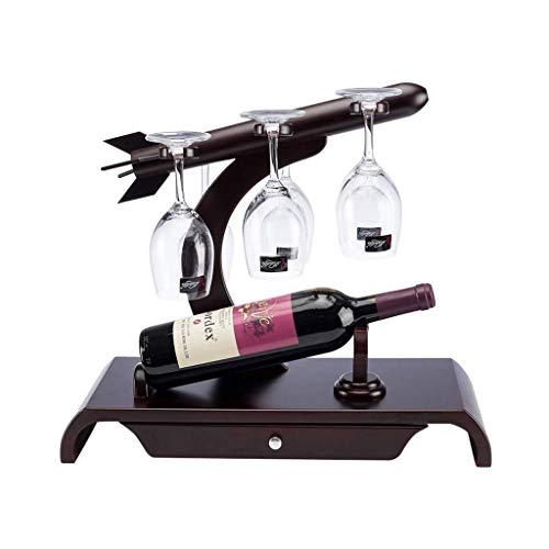 Botelleros Botellero de escultura Titular de almacenamiento de vino creativo de madera del vino del estante de la personalidad principal restaurante de la cocina copa de vino al revés estante del vino