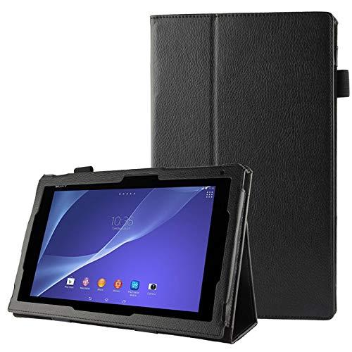 Caja Protectora de la Tableta Funda de Cuero con Textura Litchi con Soporte for Sony Xperia Tablet Z2 10.1 (Negro) (Color : Black)
