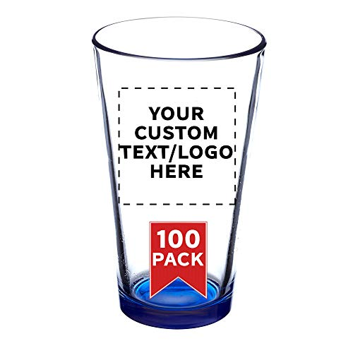 Custom Libbey Pint Glasses - 16 oz. - 100 pack - Customizable Text, Logo - Beer or Mixing Glass - Heavy Duty Tumbler - Blue