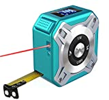 Laser Tape Measure 2-in-1, Laser Measure 131 Ft, Multifunctional Tape Measure 16 Ft/5M with LCD Digital Display, Nylon Coating Tape with Magnetic Hook for DIY Measuring Area/Volume