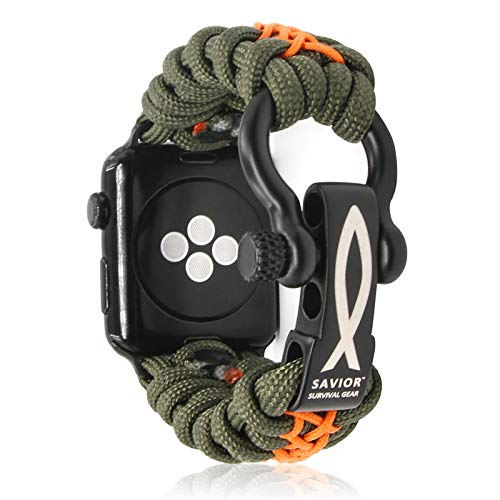 Savior Survival Gear Paracord Watch Band Compatible with Apple 42mm and 44mm Apple Watch - Paracord Watch Band with Stainless Steel Adjustable Shackle (550 Paracord, Green & Orange, Large)