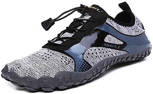 JOK Zapatos de agua para hombre y mujer estilo de meter ultraligero malla transpirable de secado rápido suela suave que absorbe los golpes zapatos de hombre y mujer (39, gris claro)