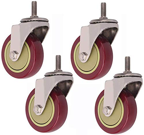 HMWP Set van 4 wielen, draaibaar, 4 wielen, voor meubels, rollen voor meubels, wielen met rem, wielen voor mobiliteit, 4 rollen en wielen WithoutBrake-100mm4in