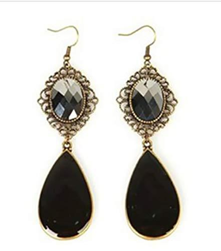 NOBRAND Pendientes Largos Negros Vintage Bohemios para Mujeres Accesorios de joyería