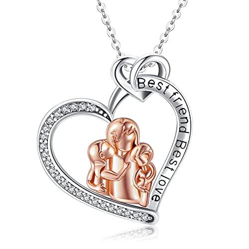 Friggem Mujer Plata de Ley 925 Collar de Madre e Hijo, Collar Colgante de Corazón de Amor con 5A Zirconia Cúbica, Joyería Regalo para Mamá Hija Mujer Niña