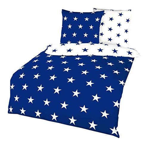 Kaeppel Fein Biber Stern Wende Bettwäsche Sterne Stars Blau Weiß Baumwolle, Größe:135x200cm Bettwäsche