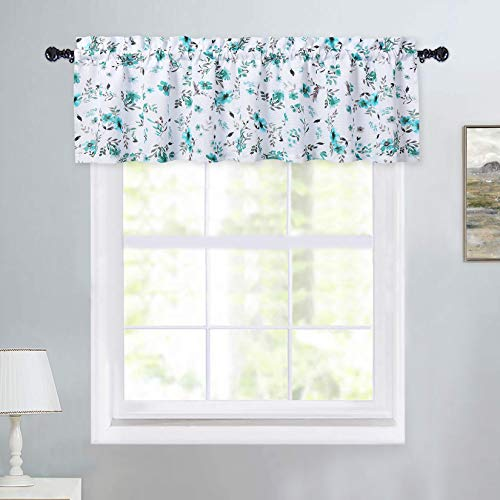 Haperlare Floral Window Valances Teal and White Farmhouse Watercolor Flower Leaf Design Window Treatment Decor Curtains Rod Pocket Valances for Kitchen/Living Room, 54' W x 15' L, One Panel