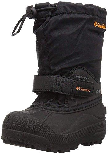 Columbia Powderbug Forty Snow Boot, Black/Orange Blast, 7 US Unisex Big Kid