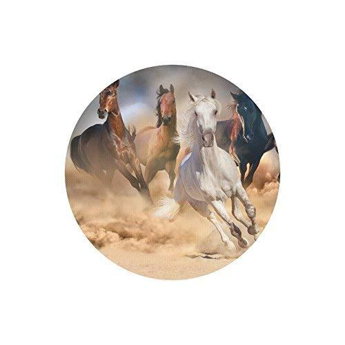 Horse Herd Run im Wüstensandsturm gegen dramatischen Himmel Runde rutschfeste Gummi Mauspad Gaming Mousepad Matte für Office Home Frau Mann Mitarbeiter Chef Arbeit