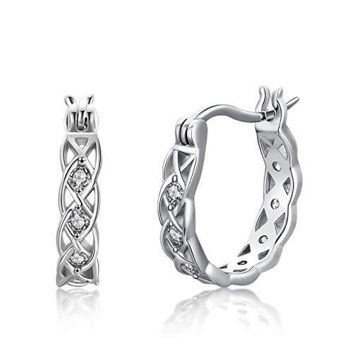 Celtic Knot Hoop Earrings 925 Sterling Silver Small Hoop Earrings Twist Irish Infinity Huggie Hypoallergenic Earrings for Sensitive Ears Celtic Knot Jewelry Gifts for Women Girls