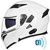ILM Bluetooth Motorcycle Helmet Modular Flip up Full Face Dual Visor Mp3 Intercom FM Radio DOT Approved (White, XL)