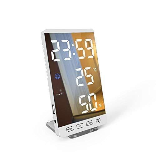 JieMiTe Spiegel LED Wecker 6 Zoll LED Zeit Temperatur Luftfeuchtigkeitsanzeige USB-Ausgang Port Tabelle Spiegel Uhr Home Decor-WhiteBody Weißes Wort_EIN