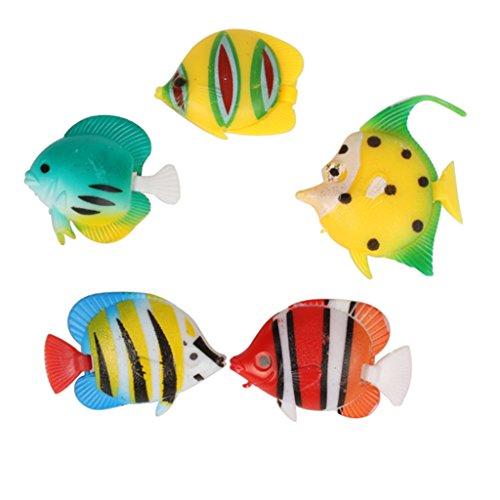 Aquarium Dekoration künstliche bunte Fische, 5 Stück