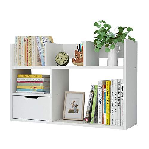 Estantería de escritorio con cajón, organizador de almacenamiento de bricolaje, estante de exhibición de mesa multifuncional, suministros de oficina, libros, maquillaje oficina y hogar (blanco)