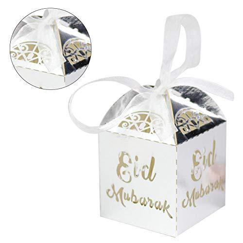 50 Stück Geschenkbox Muslimischer Süßigkeitenbehälter Vorratsglas Nougat Vorratsdose Ramadan Snack Schachtel Durchbrochene Pralinenschachtel Aufbewahrungsbox Muslim Eid Islam Hadsch Dekoration