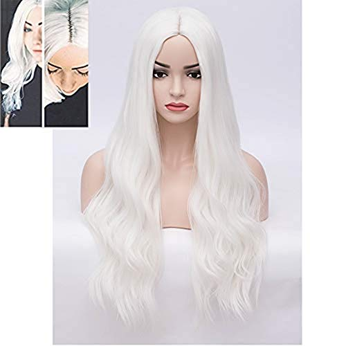 BERON 28'' Women Girls Long Wavy Synthetic Wigs for Costume Play Party with Wig Cap (White)