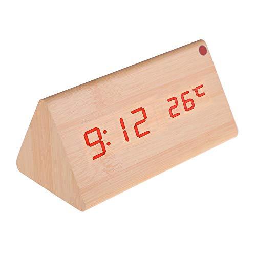 LALLing Reloj Despertador Digital Calendario Termómetro para Oficina en casa1 pcs Pantalla LED de Madera Electrónica de Escritorio Relojes de Mesa Digitales